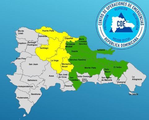 Resultado de imagen de COE decreta alerta por lluvias para 14 provincias de República Dominicana